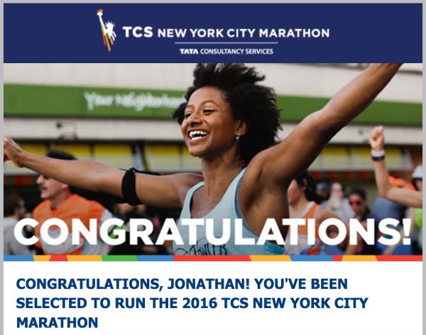 L'email m'annonçant ma sélection pour le prochaine Marathon de New York